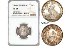 AG020, Switzerland, 1 Franc 1903-B, Bern, Silver, NGC MS64