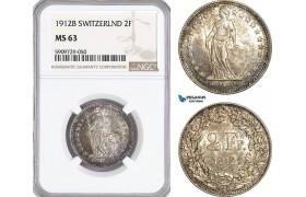 AG021, Switzerland, 2 Francs 1912-B, Bern, Silver, NGC MS63