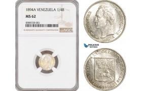AG022, Venezuela, 1/4 Bolivar 1894-A, Paris, Silver, NGC MS62