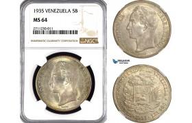 AG024, Venezuela, 5 Bolivares 1935, Silver, NGC MS64