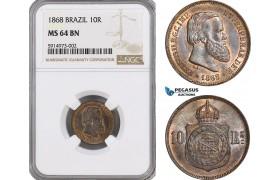 AG025, Brazil, Pedro II, 10 Reis 1868, NGC MS64BN