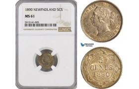 AG033, Canada, Newfoundland, Victoria, 5 Cents 1890, Silver, NGC MS61