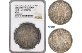 AG038, Czechoslovakia, 10 Ducats 1929, 1000 years of Christianity in Bohemia, Silver, NGC MS63