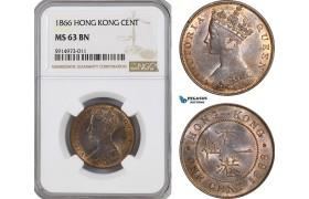 AG055, Hong Kong, Victoria, 1 Cent 1866, London, NGC MS63BN