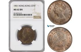 AG056, Hong Kong, Victoria, 1 Cent 1901, London, NGC MS62BN
