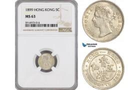 AG057, Hong Kong, Victoria, 5 Cents 1899, Silver, NGC MS63