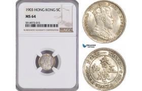 AG058, Hong Kong, Edward VII, 5 Cents 1903, Silver, NGC MS64