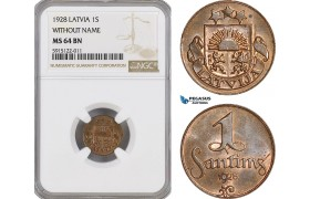 AG060, Latvia, 1 Santims 1928, Without Name, NGC MS64BN