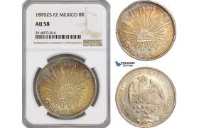 AG061, Mexico, 8 Reales 1895 Zs FZ, Zacatecas, Silver, NGC AU58