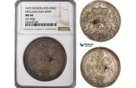 AG064, Netherlands, Holland, 1672, 2 Ducaton Dav-4929, Silver 65.46g, NGC MS60, Pop 1/1
