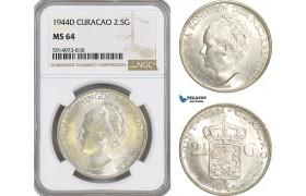 AG066, Netherlands Antilles, Curacao, 2 1/2 Gulden 1944-D, Denver, Silver, NGC MS64