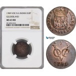 AG068, Netherlands East Indies, VOC, 1 Duit 1789, Gelderland Arms, NGC MS63RB, Pop 1/0