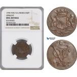 AG071, Netherlands East Indies, VOC, 1 Duit 1794, Utrecht Arms, NGC UNC Det.