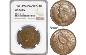 AG073, New Zealand, 1 Penny 1952, NGC MS64BN