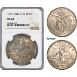AG079, Philippines (US Administration) Peso 1903-S, San Francisco, Silver, NGC MS61