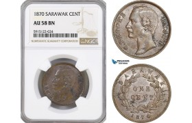 AG095, Sarawak, C. Brooke Rajah, 1 Cent 1870, NGC AU58BN