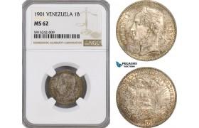 AG113, Venezuela, 1 Bolivar 1901, Paris, Silver, NGC MS62