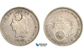 AG117, Costa Rica, 50 Centavos ND (1889) (Type VII countermark) on Colombia 5 Decimos Medellin 1873,  F-VF, Rare!