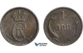 AG118, Denmark, Christian IX, 1 Øre 1881, Copenhagen, aVF, Very Rare Key date!