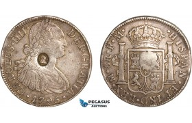 "AG127, Great Britain, George III ""Emergency Dollar"" 1797, Oval countermark of George III on Charles IV 8 Reales 1795 Mexico, Silver (26.86g) Toned VF"