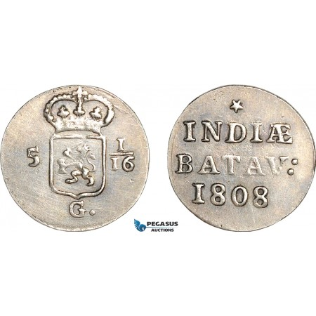 AG133, Netherlands East Indies, Batavian Rep. Silver Duit 1808, Silver (2.75g) Cleaned AU