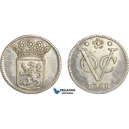 AG135, Netherlands East Indies, VOC, 1/2 Duit 1758, Silver (1.47g) Holland arms, Cleaned AU