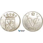 AG136, Netherlands East Indies, VOC, 1/2 Duit 1761, Silver (1.36g) Holland arms, Cleaned UNC