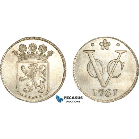 AG137, Netherlands East Indies, VOC, Duit 1761, Silver (2.82g) Holland arms, Cleaned Ch UNC