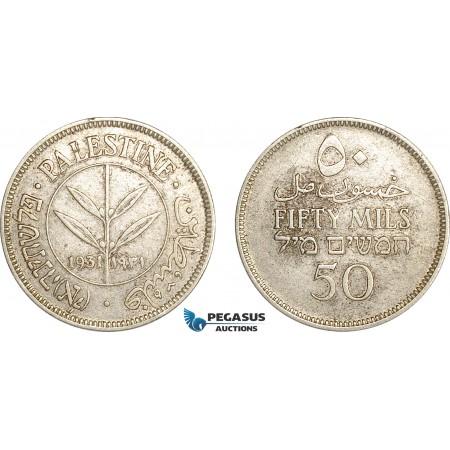 AG141, Palestine, 50 Mils 1931, London, Silver, Key date, aXF, Rare!