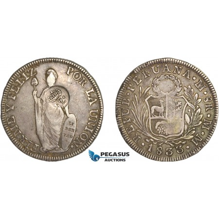 AG143, Philippines, Ferdinand VII, 8 Reales ND (1832-34) Type V Countermark on Peru 8 Reales 1833 LIMAE MM, Toned XF