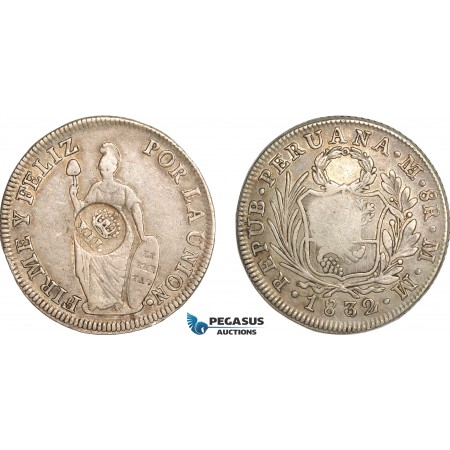 AG144, Philippines, Isabel II, 8 Reales ND (1834-37) Type VI Countermark on Peru 8 Reales 1832 LIMAE MM, aXF