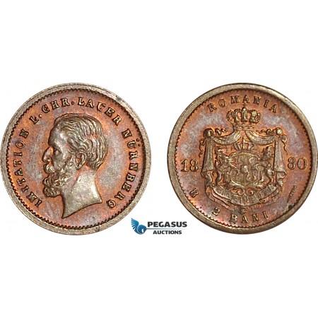 AG146, Romania, Carol I, Imitation by L.Chr. Laur Nürnberg, 2 Bani 1880-B, Bronze (Ø 12 mm, 0.58g) UNC