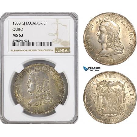 AG149, Ecuador, 5 Francos 1858 GJ, Quito, Silver, NGC MS63