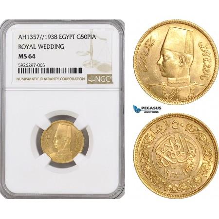 "AG151, Egypt, Farouk, 50 Piastres AH1357 // 1938, Gold, ""Royal Wedding"" NGC MS64"