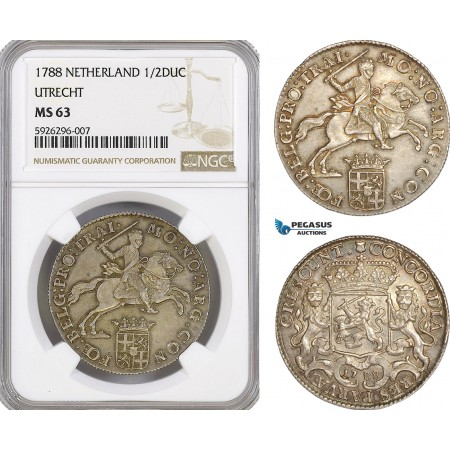 """AG152, Netherlands, Utrecht, """"Silver Rider"""" 1/2 Ducaton 1788, Silver, NGC MS63"""