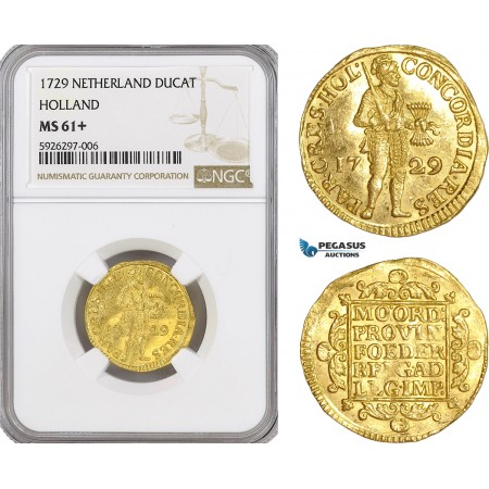 AG153, Netherlands, Holland, Ducat 1729, Gold, NGC MS61+