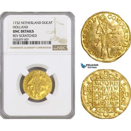 AG154, Netherlands, Holland, Ducat 1732, Gold, NGC UNC Det.