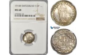 AG156, Switzerland, 1/2 Franc 1914-B, Bern, Silver, NGC MS68, Top Pop!