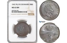 AG161-R, Denmark, Christian VIII, 2 Rigsbankskilling 1842 FK/VS, Copenhagen, NGC MS63BN