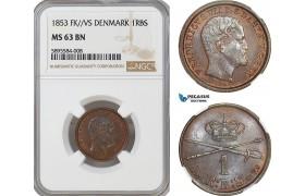 AG162-R, Denmark, Frederik VII, 1 Rigsbankskilling 1853 FK/VS, Copenhagen, NGC MS63BN