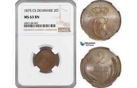 AG163-R, Denmark, Christian IX, 2 Øre 1875 CS, Copenhagen, NGC MS63BN