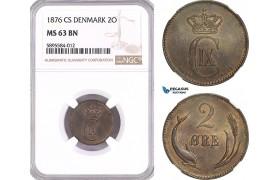 AG164-R, Denmark, Christian IX, 2 Øre 1876 CS, Copenhagen, NGC MS63BN