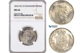 AG165-R, Denmark, Christian IX, 1 Krone 1876, Copenhagen, Silver, NGC MS64, Rare!