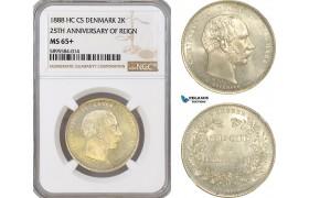 AG166-R, Denmark, Christian IX, 2 Kroner 1888, Silver, Copenhagen (25th Ann. of Reign) NGC MS65+