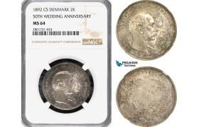 AG167-R, Denmark, Christian IX, 2 Kroner 1892, Silver, Copenhagen (Golden Wedding) NGC MS64