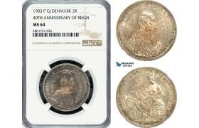 AG168-R, Denmark, Christian IX, 2 Kroner 1903, Copenhagen, Silver, (40th Ann. of Reign) NGC MS64