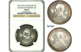 AG169-R, Denmark, Frederik VIII, 2 Kroner 1906, Copenhagen, Silver, (Accession of Fr. VIII) NGC MS65