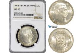 AG172-R, Denmark, Christian X, 2 Kroner 1915 VBP, Copenhagen, Silver, NGC MS63