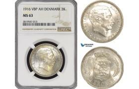 AG173-R, Denmark, Christian X, 2 Kroner 1916 VBP, Copenhagen, Silver, NGC MS63