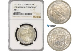 AG174-R, Denmark, Christian X, 2 Kroner 1923 HCN, Silver, Copenhagen, (25th Wedding Anniversary) NGC MS64